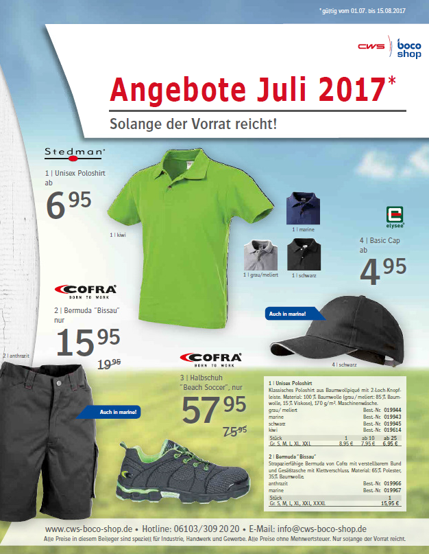 Angebote CWS boco Shop Juli 2017
