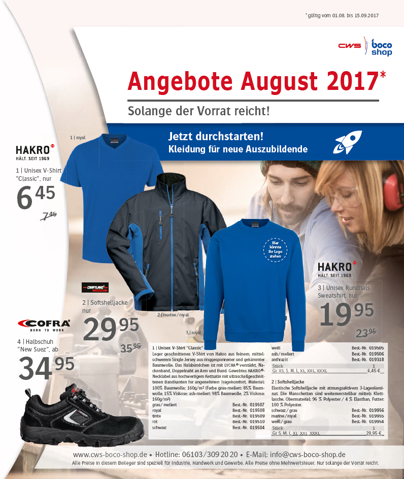 Angebote CWS boco Shop August 2017
