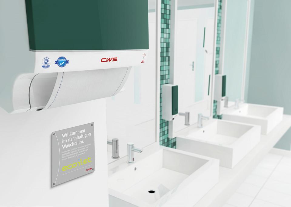 CWS Ecoilet-Plakette im Waschraum