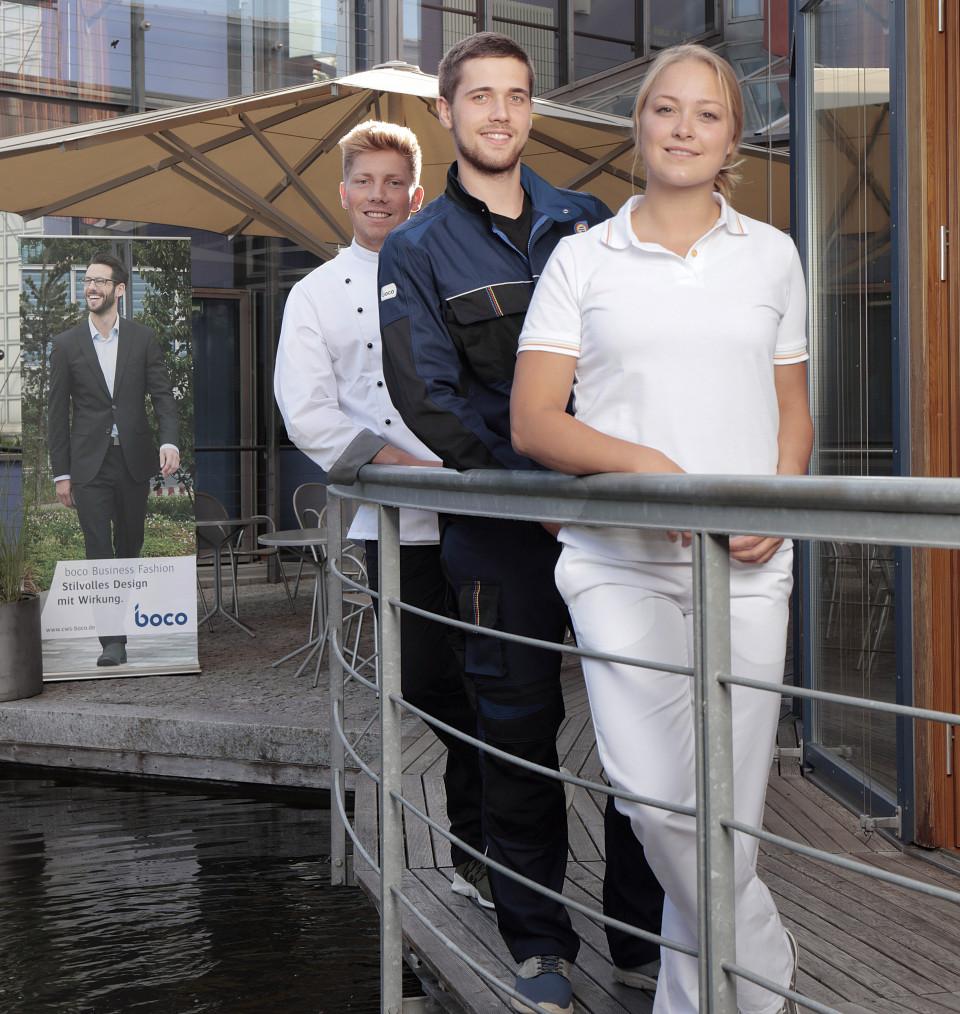 Die Teilnehmer Fabian Böckeler (Konditor), Lukas Heyn (SHK), Laura Vosskötter (Gesundheits- und Sozialbetreuung) in boco Berufskleidung