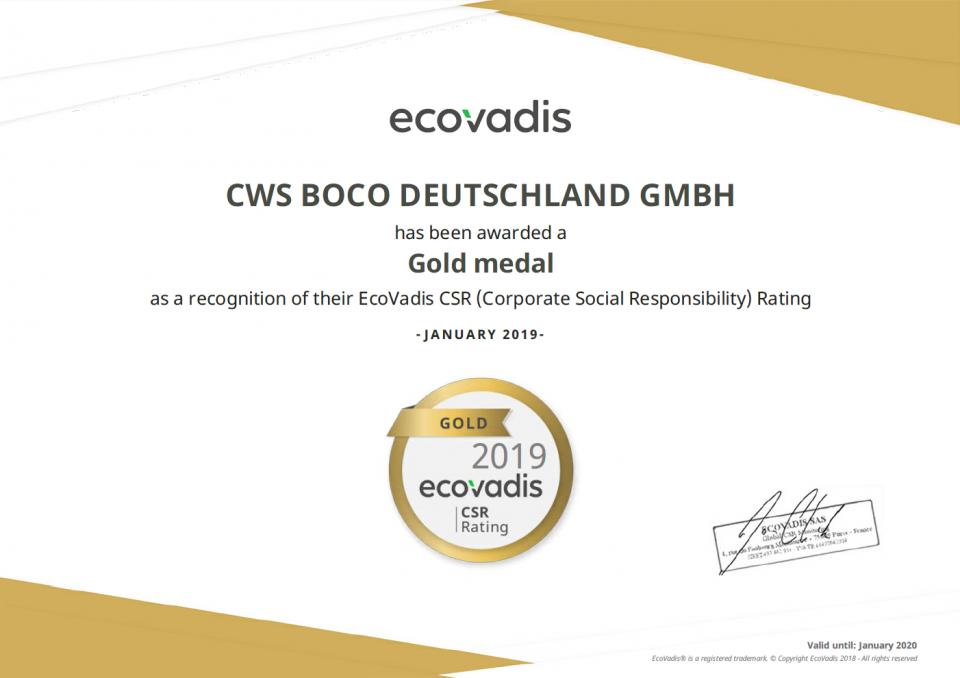 EcoVadis Zertifikat 2019