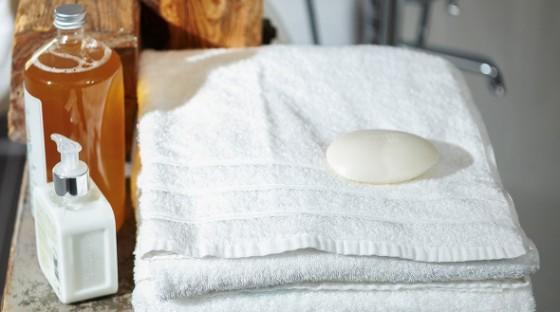 Handtücher mit Seife